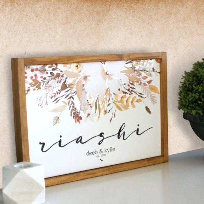 Beautifully designed, framed and personalised family name canvasby Phoenix & Arrow