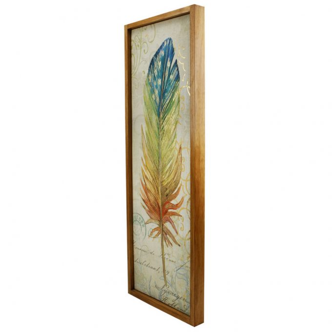 Timber framed feather canvas featuring gold highlights by Phoenix & Arrow