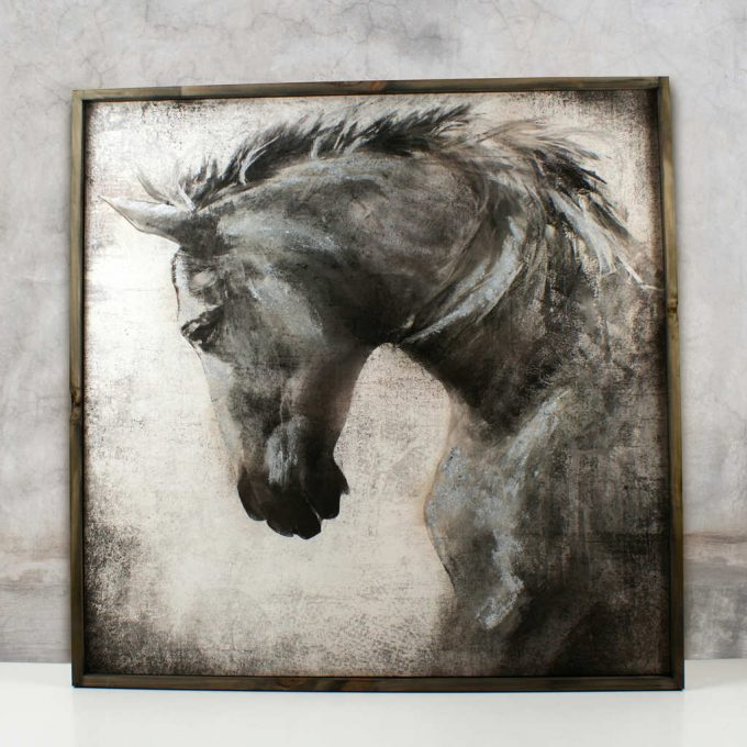 Timber framed horse canvas featuring subtle silver highlights by Phoenix & Arrow